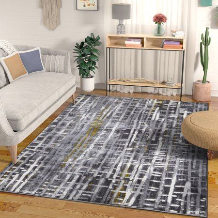 - Borough Grey & Yellow Modern Geometric High-Low Pile Area Rug 5x7 (5'3