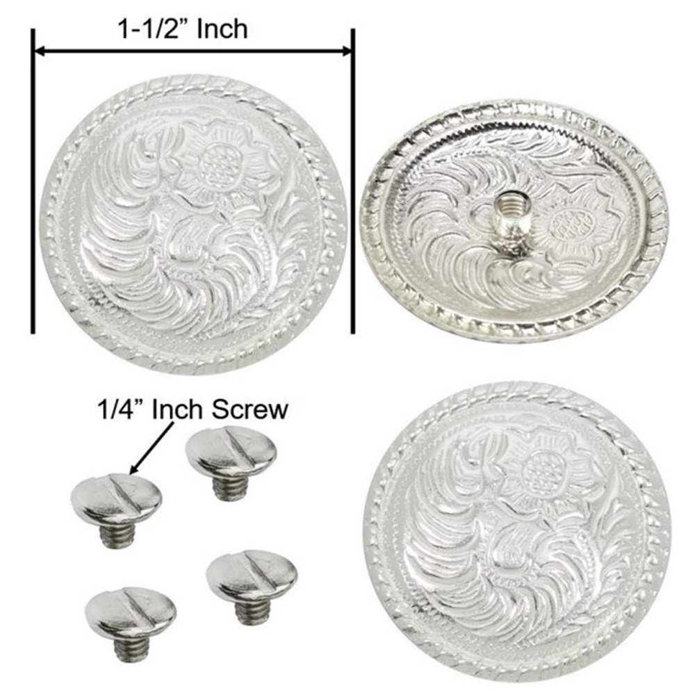 U-1'' HILASON SILVER PLATED FLORAL ROUND CONCHO/SCREW SADDLE HEADSTALL
