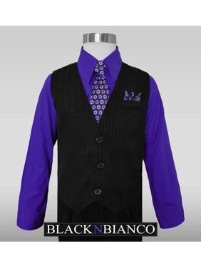 Boys Dress Wear Black Pinstripe Vest Suits Purple Shirt Tie