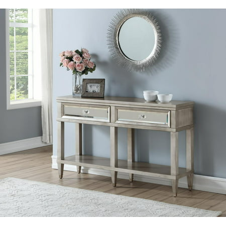 Two Drawer Mirrored Front Entryway Console (Optional Front Overhead Console)