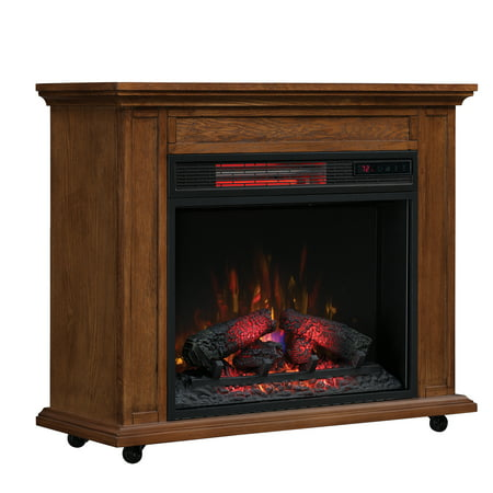 - Duraflame Rolling Mantel with Infrared Quartz Fireplace, Premium Oak