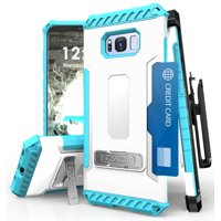 galaxy s8+ case, tri-shield rugged case cover with magnetic kickstand + belt clip holster + lanyard strap + credit card wallet slot for samsung galaxy s8 plus phone (sm-g955), s8+