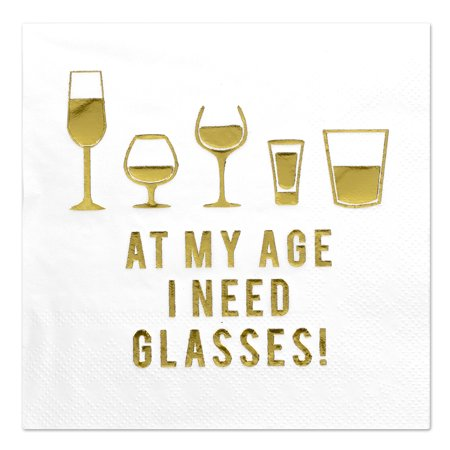 Andaz Press I Need Glasses, Funny Quotes Cocktail Napkins, Gold Foil, Bulk 50-ct - Gold Cocktail Napkins