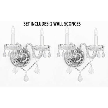 Set of 2- Murano Venetian Style Crystal Wall Scones Lighting H10