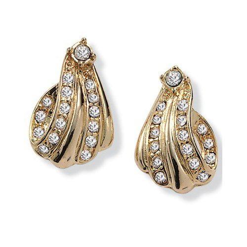 Palm Beach Jewelry Goldtone Crystal Swirl Earrings