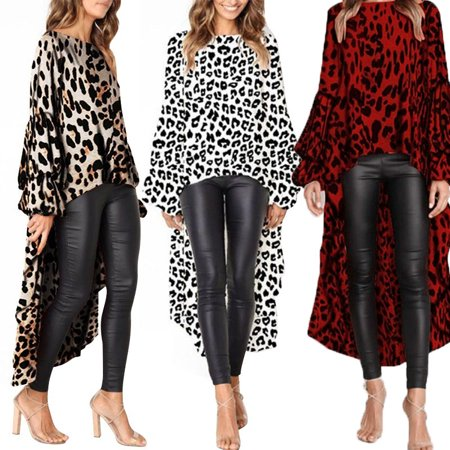 Women Fashion Autumn Ruffles Irregular Hem Long Blouses Leopard Solid Lantern Puff Sleeve Baggy Chiffon Tops