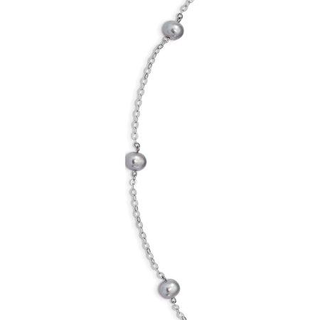 Argent 925 rhodi?es 7-8mm gris perle FWC w / 2po ext. Collier - image 1 de 1