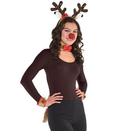 Reindeer Costume Kit Rudolph Nose Cuffs Tail Headband Collar (Rudolph Costume Ideas)