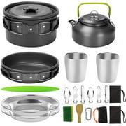 Outdoor needs camping pot pot teapot set 2-3 people picnic grill pot cooker equipment black