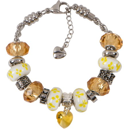 WISDOM CHARM BRACELET for Women & Girls, Steel Rope Chain and Yellow Topaz Hearts and Flowers November Birthstone Charms, 7.5 Inch
