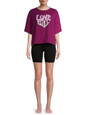 Secret Treasures Women's and Women's Plus Short Sleeve Tee & Bike Shorts Lounge Set