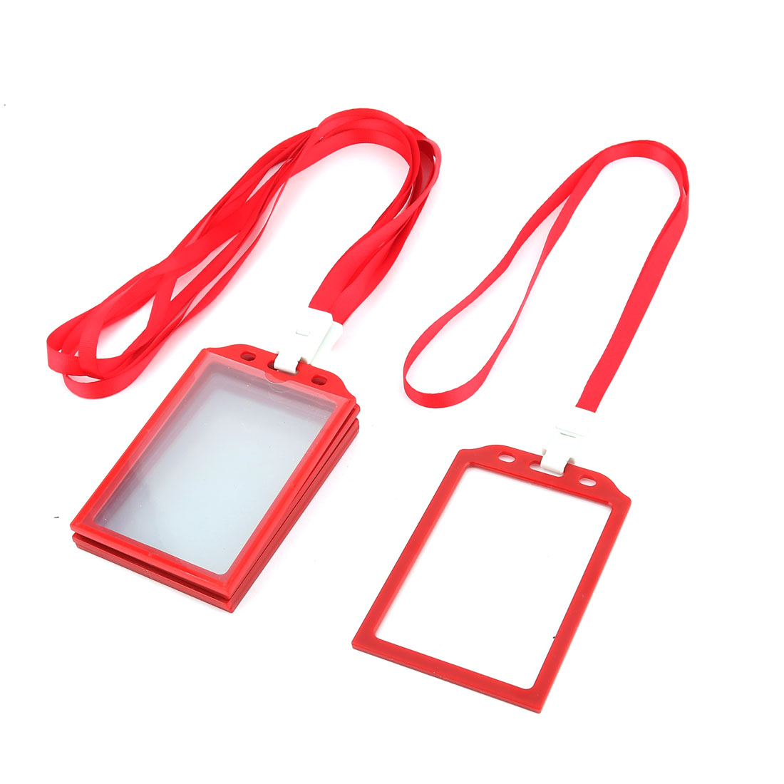 Office School Neck String Lanyard Vertical ID Card Holder Case Red 5 Pcs