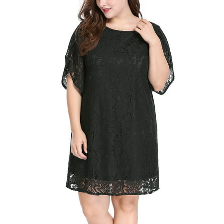 Women's Plus Size Tulip Sleeves Crew Neck Floral Lace Shift (Tulip Sleeve Dress)
