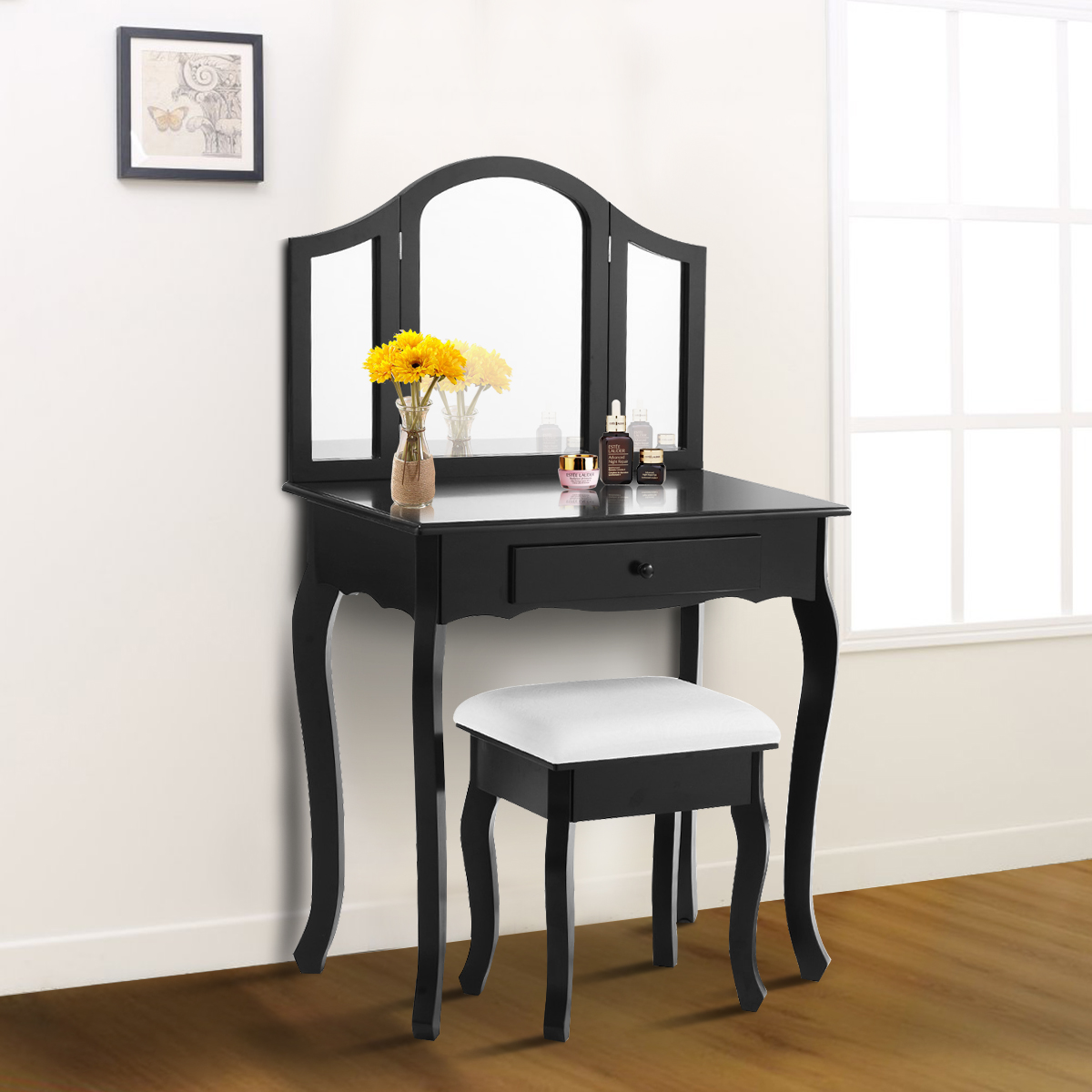 Costway Black Tri Folding Mirror Vanity Makeup Table Set bathroom W/Stool & Drawers
