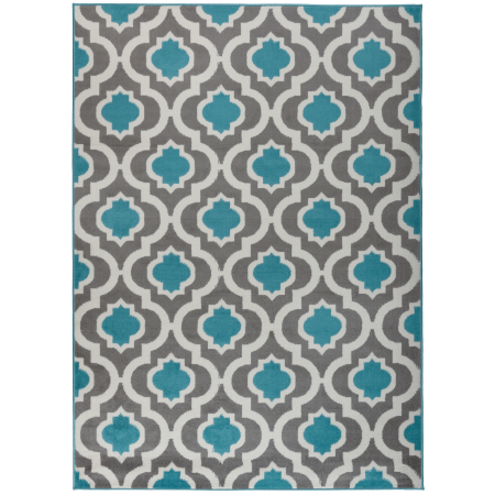 Kashan Rug - Antep Rugs Kashan King Collection 505 Trellis Polypropylene Indoor Area Rug Blue and Cream 5' X 7'