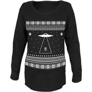 Alien Beam Ugly Christmas Sweater Black Womens Soft Maternity Long Sleeve T-Shirt