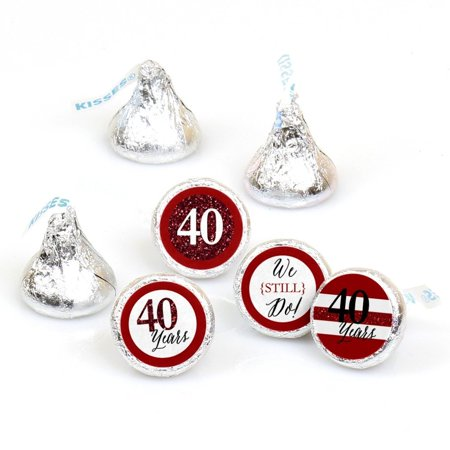 We Still Do - 40th Anniversary - Party Round Candy Stickers - Labels Fit Hershey's Kisses (1 sheet of 108)