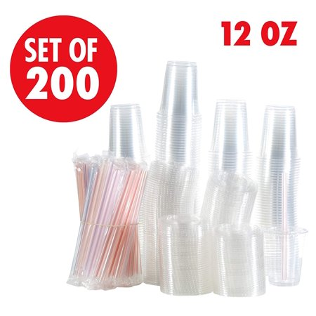 - Set of 200 Clear Plastic Cups with Flat Lids, Smoothie Wide Large Straw, Cold Smoothie Iced Coffee Cup with Lids, 12 oz 16oz largest 24oz, Great for Cocktail, Juice, Teas, Clear Frozen Drink Beverage
