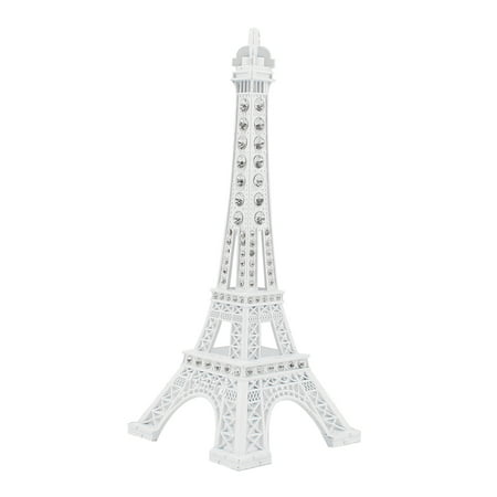 Clear Rhinestone Decor  Paris Eiffel Tower Statue Model Ornament White 18cm