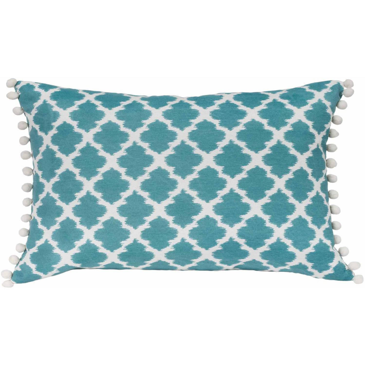 Better Homes and Gardens Tangier Aqua, Contemporary Ikat Oblong Pillow with Decorative Pompoms