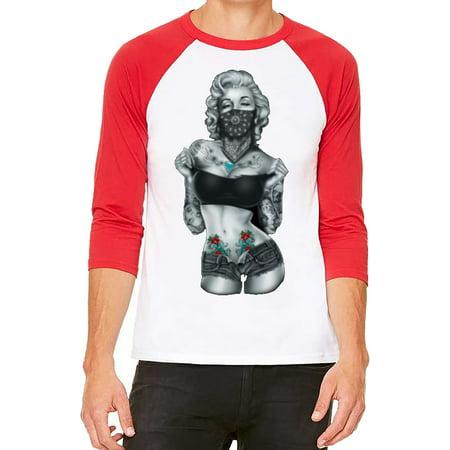 Unisex Marilyn Monroe Standing Bandana White/Red C5 3/4 Sleeve Baseball T-Shirt Medium (Monroe Baseball)