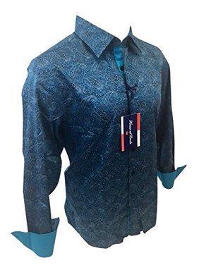 bfd6df9f Product Image Men's House of Lords Designer Woven Long Sleeve Button Down  Dress Shirt Turquoise Paisley 2025