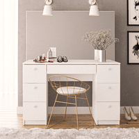 Boahaus Artemisia Modern Vanity Table w/Mirror and 7 Drawers Deals