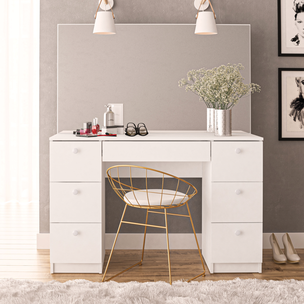 Boahaus Artemisia Modern Vanity Table with Mirror and 7 Drawers, White finish