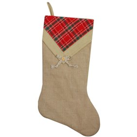 21 Rustic Chic Burlap Christmas Stocking With Pleated Off White Linen Cuff And Red Bow Walmart Com Walmart Com