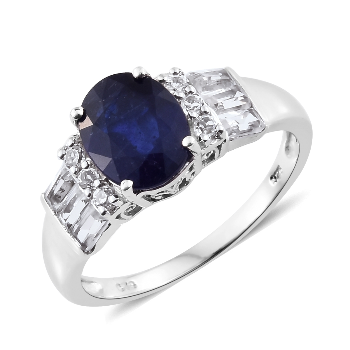 Sapphire, White Topaz Platinum Plated Silver Ring 4.91 cttw. by Shop LC