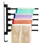 Swivel Towel Holder 5-Arm Swing Bar Wall Mount Rack Towel Hanger For Bathroom