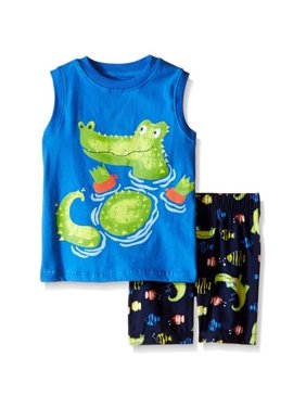 847e695c Product Image Kids Headquarters Boys 12-24 Months Gator Jersey Tank &  Microfiber Short Set (Blue