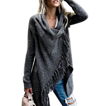 Womens Knitted Long Sleeve Cowl Neck Poncho Ladies Tassel Shawl Sweater Top Coat