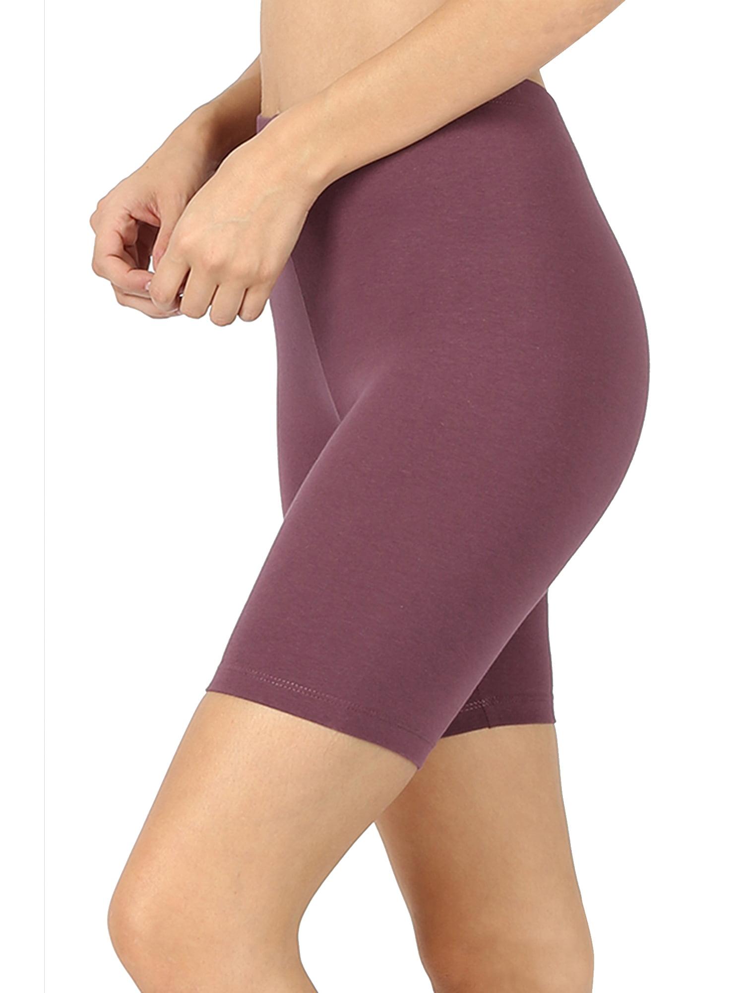 Womens Biker Shorts Soft Leggings Capri Yoga Pants Fitness Regular Solid Bermuda