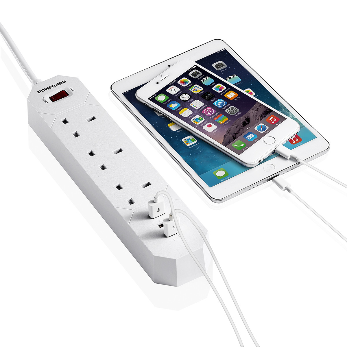 poweradd 1250w 3outlet power strip 3 usb ports surge protector with 5foot