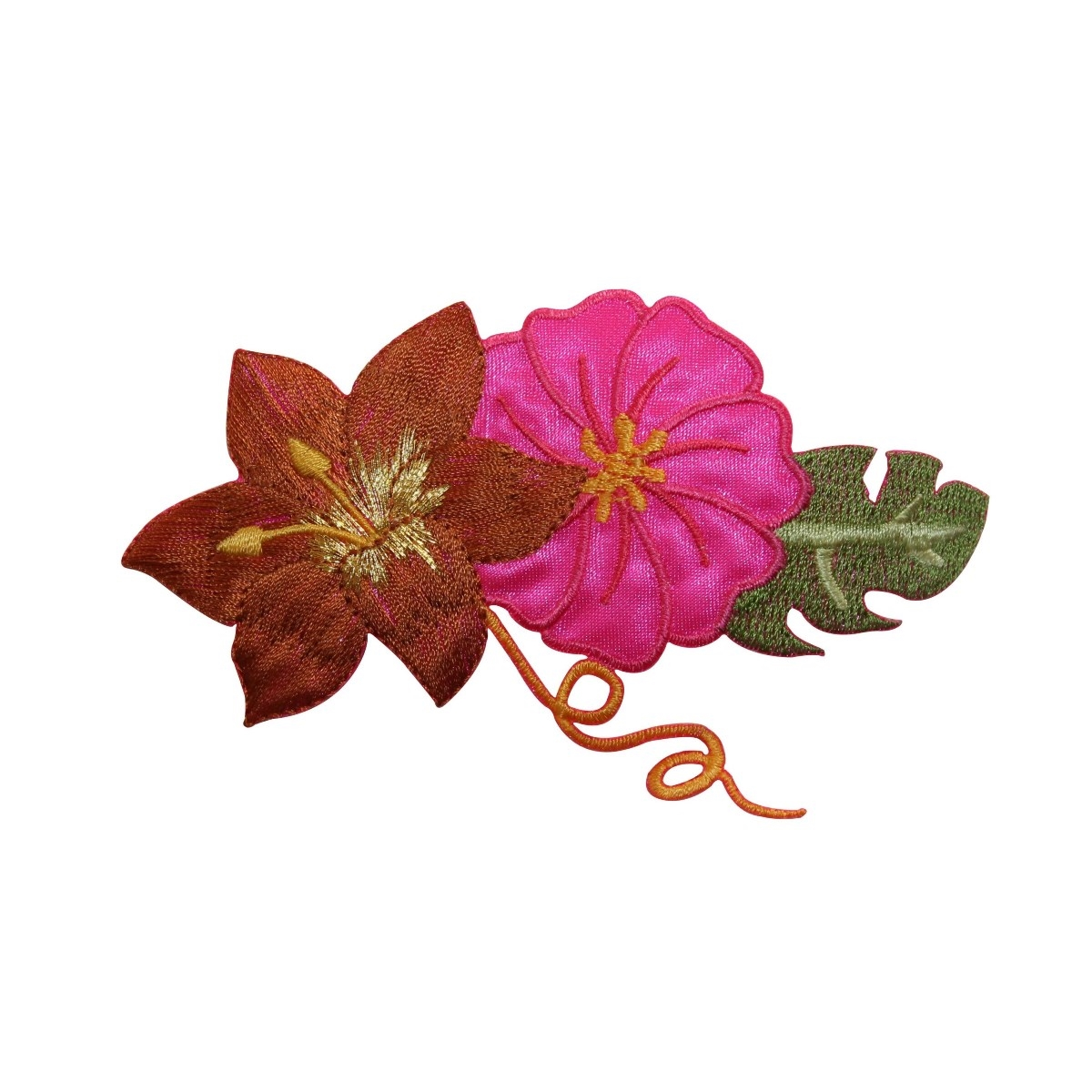 ID 6836 Tropical Flowers Patch Island Blossom Chain Embroidered Iron On Applique