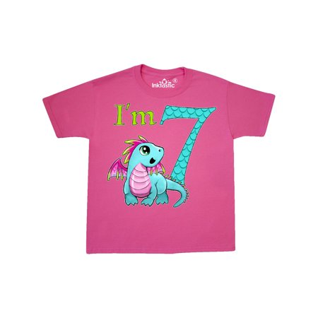 Blue And Pink Baby Dragon Seventh Birthday Youth T Shirt