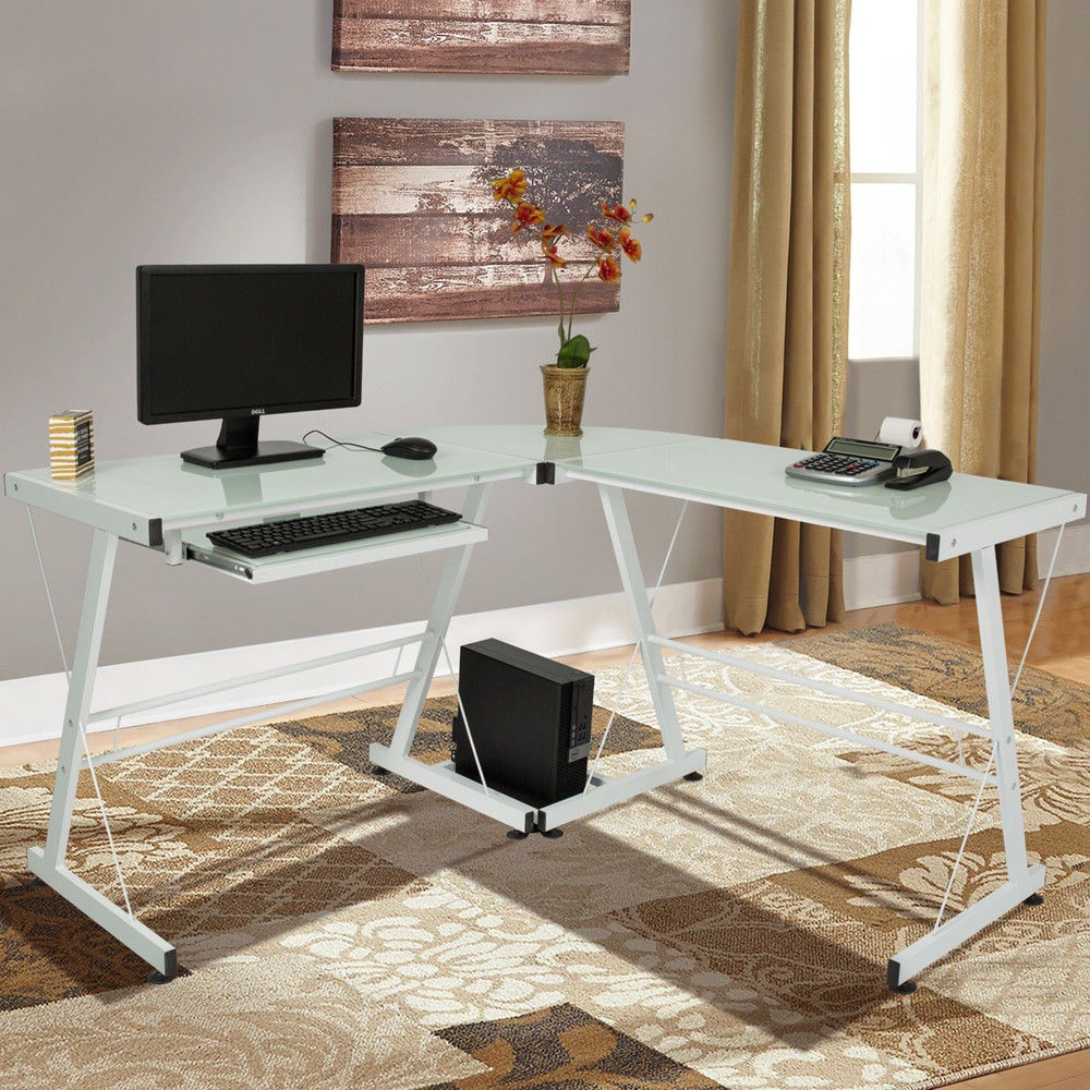Ktaxon L-Shape Corner Computer Desk PC Glass Laptop Study Table Workstation Home Office