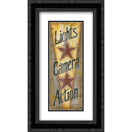 Lights-Camera-Action 2x Matted 14x24 Black Ornate Framed Art Print by Lewis, Kim