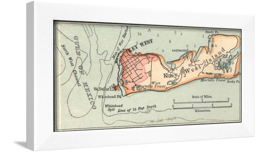 picture regarding Printable Map of Key West titled Inset Map of Mystery West Island, Florida Framed Print Wall Artwork As a result of Encyclopaedia Britannica