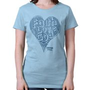 Faith Love God Heart Christian Shirt | Jesus Christ Gift Idea Ladies T-Shirt