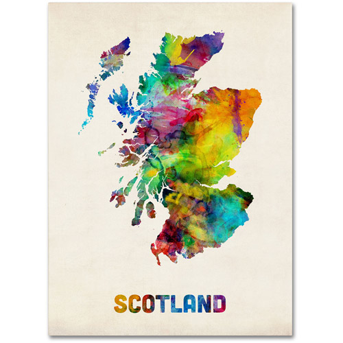 "Trademark Fine Art ""Scotland Watercolor Map"" Canvas Art by Michael Tompsett"