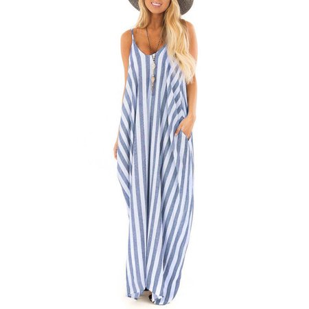 Maxi Dresses for Women, Summer Spaghetti Striped Beach Dresses Casual Long Dresses Sundress V-neck Women Party Dresses