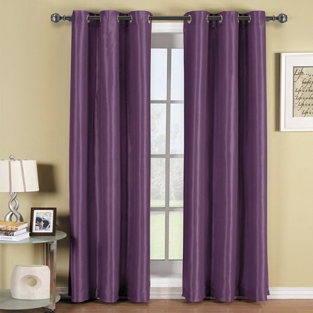 Angel Solid Grommet Blackout Panel Curtain Thermal - 63 Inch - Purple