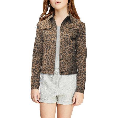 Crest Jeans Girls Glitter Floral Animal Print Denim Jacket - Large (12/14) (Denim Jacket Girls)
