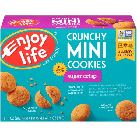 (2 Pack) Enjoy Life Foods Gluten Free, Allergy Friendly Crunchy Sugar Crisp Mini Cookies, 1 oz, 6 ct