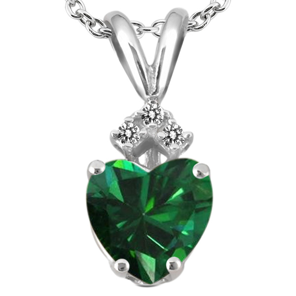 1.24 Ct Heart Shape Green Nano Emerald White Diamond 14K White Gold Pendant
