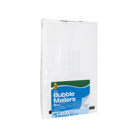 Duck 10.5 In. x 15 In. (Size 5) Poly Bubble Mailer 5-Pack, White