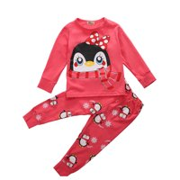 2pcs Cute Baby Girl Kids Tops+Pants Sleepwear Nightwear Pajama Pj's Set Outfits
