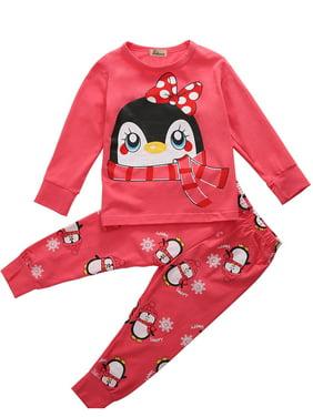 2pcs Cute Baby Girl Kids Tops+Pants Sleepwear Nightwear Pajama Pj's Set Outfits
